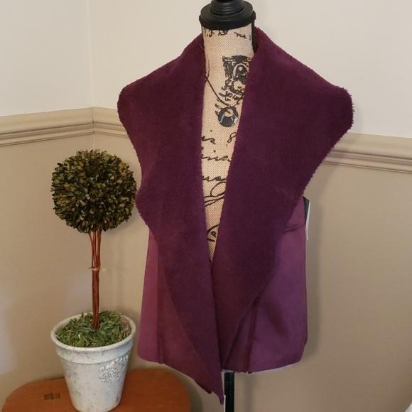 Susina Jackets & Blazers - Burgandy Shawl Vest